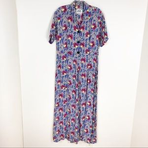 Flax Rayon Floral Maxi Dress Periwinkle Pink Small